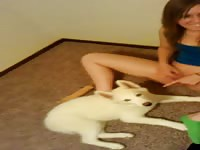 Puppy licking teen - Dog Porn