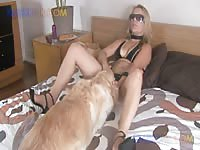 Blonde on blonde dog sex session