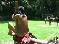 Ebony bestiality teen girl fucked by horse