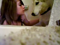 Hot emo girl making out with her dog in bestiality video
