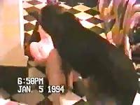 Pale white girl having dog sex on the floor