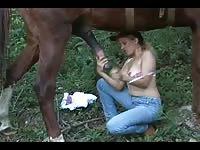 sexy blonde sucks stallion until he cums [ Free Animal Sex Movie ]
